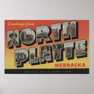 North Platte, Nebraska - Large Letter Scenes Poster