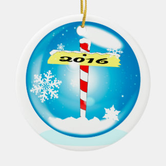 North Pole 2016 Winter Globe Ceramic Ornament