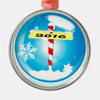 North Pole 2016 Winter Globe Metal Ornament