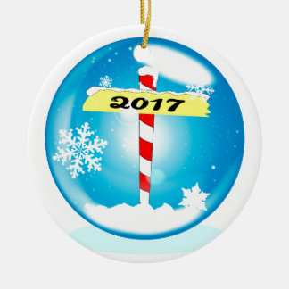 North Pole 2017 Winter Globe Ceramic Ornament