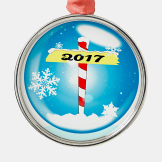 North Pole 2017 Winter Globe Metal Ornament