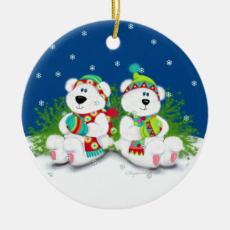 North Pole bears Double-Sided Ceramic Round Christmas Ornament