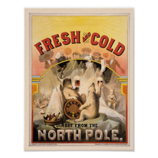 North Pole BEER Ice COLD Vintage Advertisement Poster
