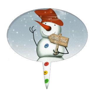 North Pole Bound Snowman Cake Topper
