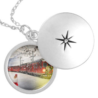 North pole express - christmas train - santa train silver plated necklace