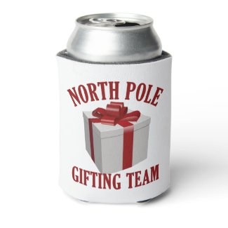 North Pole Gifting Team custom monogram can cooler