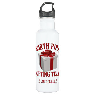 North Pole Gifting Team custom name water bottle