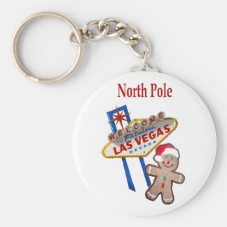North Pole Gingerbreadman with Las Vegas Sign Keyc Basic Round Button Keychain