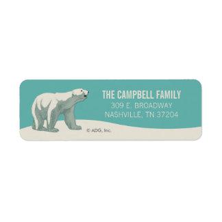 North Pole Holiday Polar Bear Label