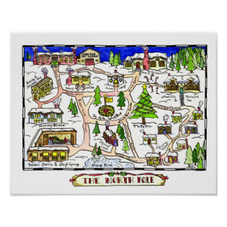 North Pole Map Poster