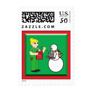 North Pole Nurse and Snowman with Broken Arm Postage