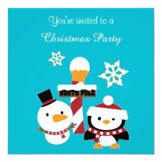 North Pole Penguin Holiday Party Card