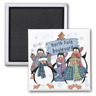 North Pole Penguins Tshirts and gifts 2 Inch Square Magnet