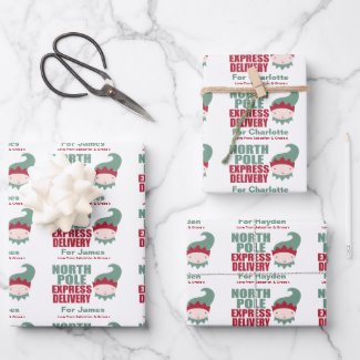 North Pole Personalized Christmas Express Delivery Wrapping Paper Sheets