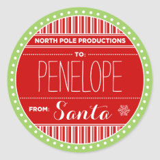 North Pole Productions Christmas Sticker Tags at Zazzle