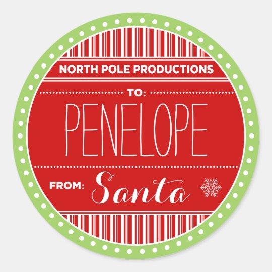 north pole productions christmas sticker tags zazzle com