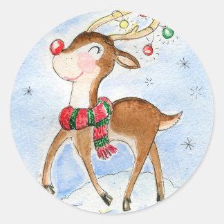 North pole Reindeer Classic Round Sticker