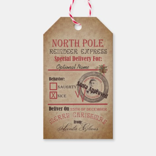 North Pole Reindeer Express Naughty Or Nice Santa Gift Tags