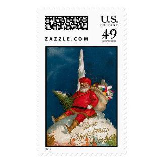 North Pole Santa Claus Vintage Christmas Stamps