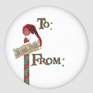 north pole sign gift tag round sticker