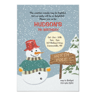North Pole Snowman Invitation at Zazzle