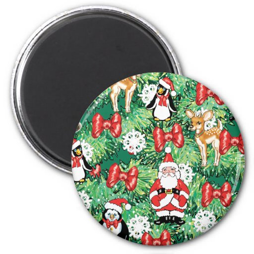 North Pole Themed Mini Ornaments on Christmas Tree 2 Inch Round Magnet