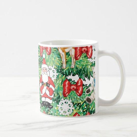 North Pole Themed Mini Ornaments on Christmas Tree Coffee Mug