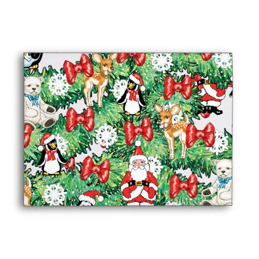 North Pole Themed Mini Ornaments on Christmas Tree Envelopes
