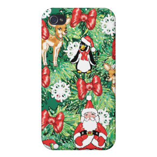 North Pole Themed Mini Ornaments on Christmas Tree iPhone 4 Cases