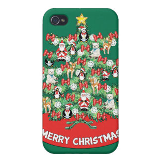 North Pole Themed Mini Ornaments on Christmas Tree iPhone 4/4S Cases