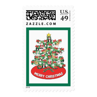 North Pole Themed Mini Ornaments on Christmas Tree Postage Stamps