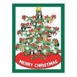 North Pole Themed Mini Ornaments on Christmas Tree Postcards