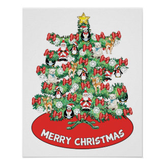 North Pole Themed Mini Ornaments on Christmas Tree Posters