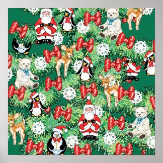 North Pole Themed Mini Ornaments on Christmas Tree Print