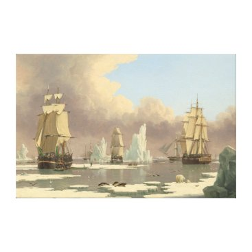 Art Themed North Pole Three Masted Ships Ocean Scene Canvas Print