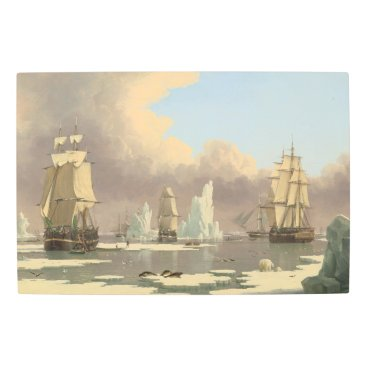 Art Themed North Pole Three Masted Ships Ocean Scene Metal Print