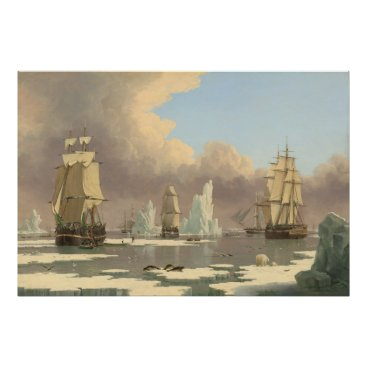 Art Themed North Pole Three Masted Ships Ocean Scene Poster