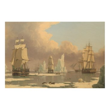 Art Themed North Pole Three Masted Ships Ocean Scene Wood Print