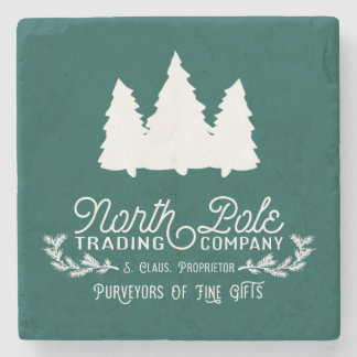 North Pole Trading Company Christmas Typography Stone Coaster
