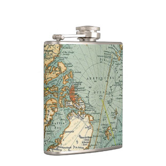 North Pole Vintage Map Hip Flask