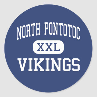 North Pontotoc Vikings Middle Ecru Round Stickers