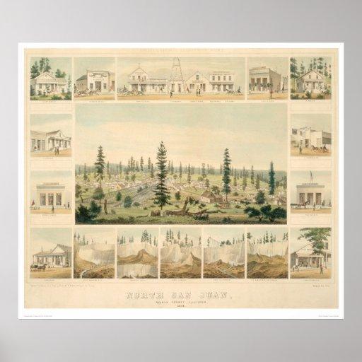 North San Juan, CA. Panoramic Map 1858 (1567A) Print