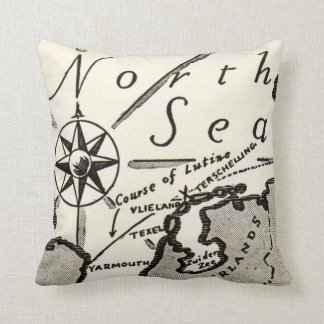 North Sea Map Graphic Bold Compass Throw Pillow