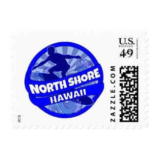 North Shore Hawaii blue surfer logo stamps