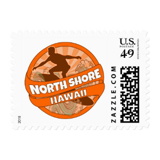 North Shore Hawaii orange surfer logo stamps