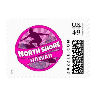North Shore Hawaii pink surfer logo postage stamps