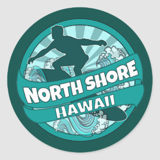 North Shore Hawaii teal surfer logo stickers