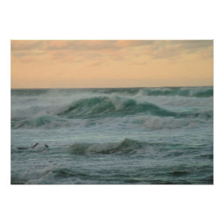 North Shore Sunset Waves Poster