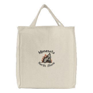North Shore Wolf Embroidered Tote