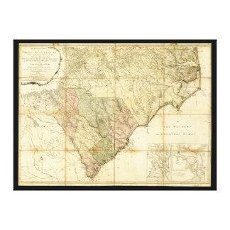 North & South Carolina Map (1775) Canvas Print